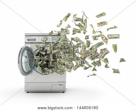 Money laundering concept. Dollar bills flying from the washing machine. 3d illustration