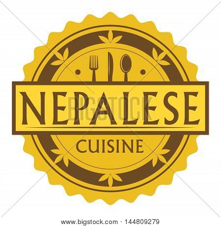 Abstract stamp or label with the text nepalese Cuisine written inside, traditional vintage food label, with spoon, fork, knife symbols, vector illustration