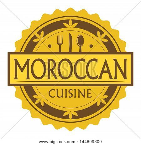 Abstract stamp or label with the text maroccan Cuisine written inside, traditional vintage food label, with spoon, fork, knife symbols, vector illustration