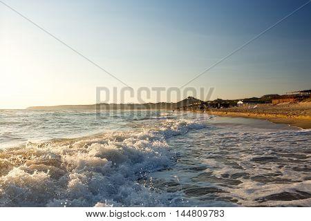 Solero Beach at Sundown. Long sandy beach between Eraclea Minoa and Torre Salsa Sicily Italy