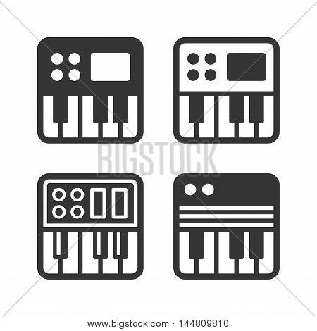 Synthesizer Icon Set on White Background. Vector illustration
