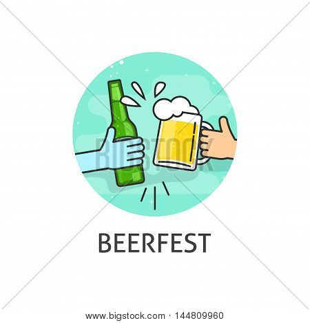 Beer festival vector logo isolated on white background, flat outline beerfest label with hands holding beer glass and bottle toasting badge