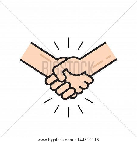 Handshake icon vector isolated on white background, flat outline line style hands shaking, symbol of agreement, deal, friendship