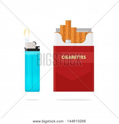 Cigarettes pack box and lighter with fire vector illustration isolated on white background, flat style design