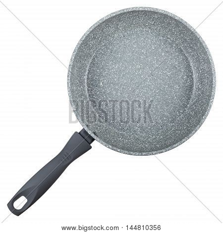 Modern frying pan with non-stick granite coating isolated on white background top view
