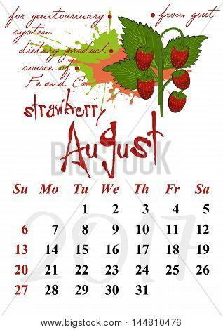 Calendar design grid with useful properties of fruits and dates of summer month August 2017. Wild strawberry. Vector illustration