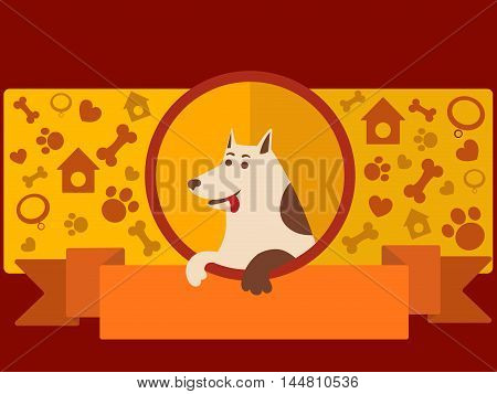 Pet shop banner with dog. Cartoon colorful vector illustration