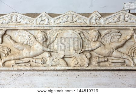 ROME, ITALY - JUNE 12, 2015: Ancient sarcophagus in the baths of Diocletian in Rome. Italy