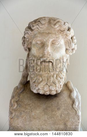 ROME, ITALY - JUNE 12, 2015: tAncient bust of the man in the baths of Diocletian in Rome. Italy