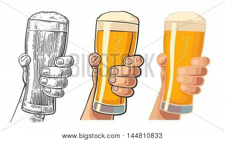 Male hand holding a beer glass. Drawing in three graphic styles. Vintage vector engraving and flat illustration for web poster invitation to invitation to party and birthday.