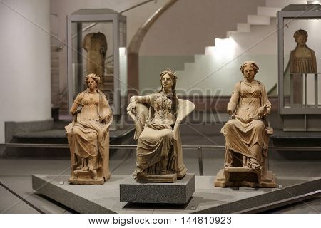 ROME, ITALY - JUNE 12, 2015: Ancient statues of woman in baths of Diocletian (Thermae Diocletiani) in Rome. Italy