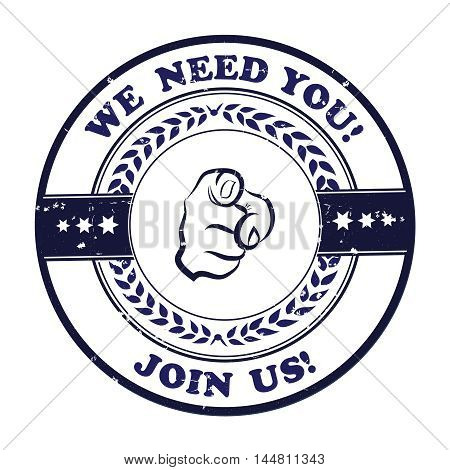 We need you, join us! - grunge stamp / ribbon for recruitment agencies / companies and firms that are looking to hire.