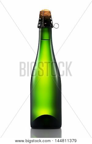 Bottle of beer cider or champagne with clipping path isolated on white background.