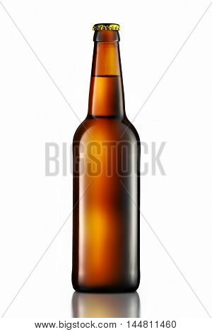 Bottle of beer in green bottle with clipping path isolated on white background.