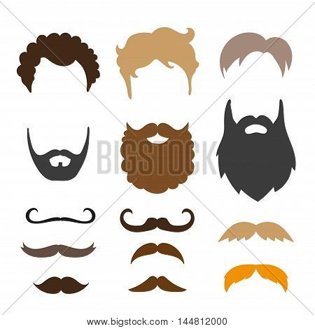 Mustache, beard and haircut set. Birthday party men photo booth props. Vector illustration.