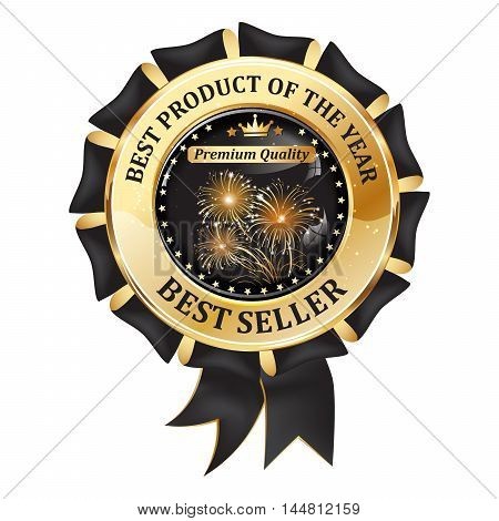 Best seller. Best product of the year, Premium Quality - elegant award ribbon with fireworks, for business retail purposes.