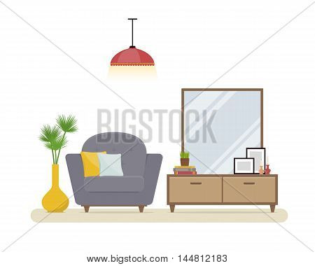 Apartment interior. Stylish living room with grey modern armchair, nightstand and mirror. Cozy home interior. The modern interior design in a flat style.