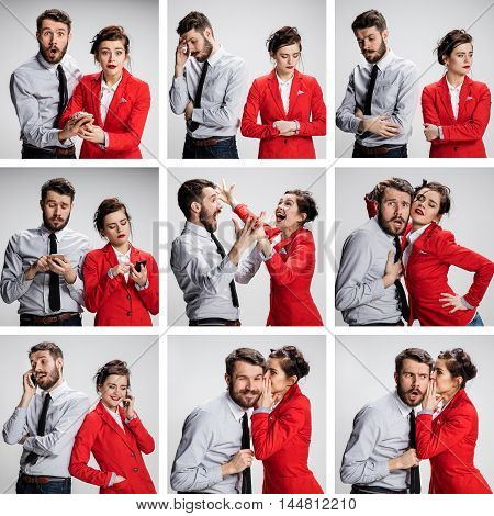 The vexed young businessman and businesswoman on gray background. The concept of relationship of colleagues.