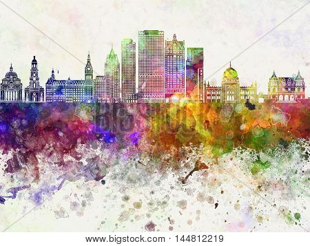 Milwaukee skyline artistic abstrac in watercolor background