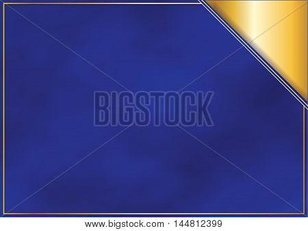 Elegant blue background for any occasion.Golden blue design for your postcard. Print colors used;  Copy Space for your message.