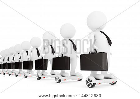 3d Businessmans Stand on White Self Balancing Electric Scooters on a white background. 3d Rendering