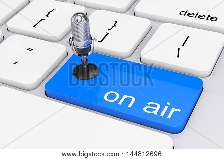 Online Media Concept. Blue On Air Button with Microphone extreme closeup. 3d Rendering