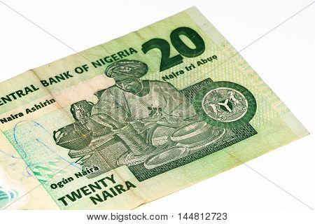 20 Nigerian naira bank note. Nigerian naira is the main currency of Nigeria