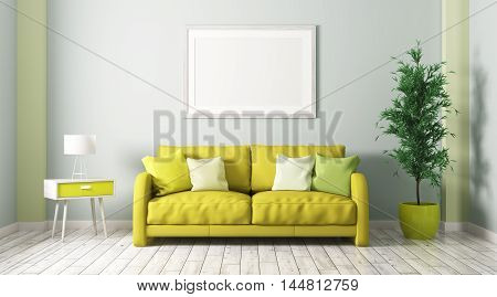 Interior Of Living Room With Sofa 3D Render