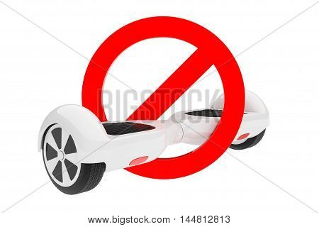 White Self Balancing Electric Scooter in Forbidden Red Warning Sign on a white background. 3d Rendering