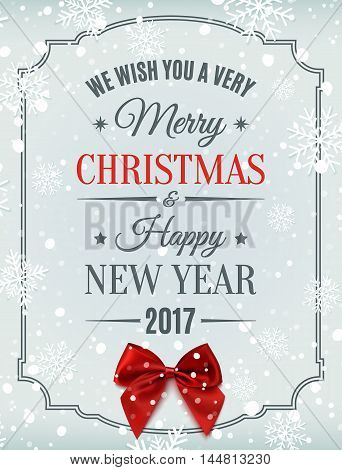 Merry Christmas and Happy New Year 2017 typographic text on winter background with red bow, snow and snowflakes. Greeting card template. Vector illustration
