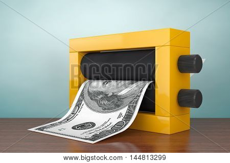 Old Style Photo. Magic Press for Making Money on a wooden table. 3d Rendering