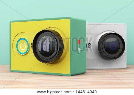 Old Style Photo. Small Ultra HD Action Cameras on a wooden table. 3d Rendering