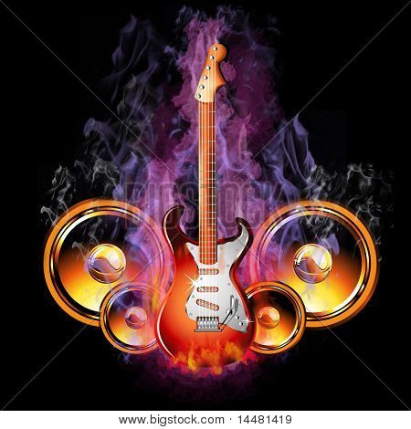 Colorful Hot Burning Electric Guitar with speakers