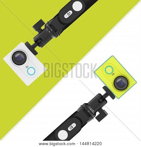 Small Ultra HD Action Cameras with Extensible Selfie Stick Monopod on a white and green background. 3d Rendering