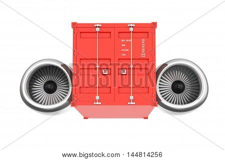 Aircraft Jet Engine with Shipping Container on a white background. 3d Rendering