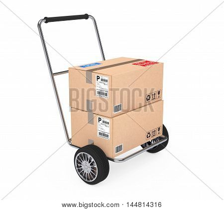 Hand Truck with Parcel Cardboard Boxes on a white background. 3d Rendering