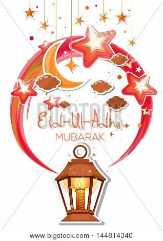 Greeting card for Bakr-Eid. Eid Al Adha mubarak poster with glowing lantern hanging golden stars and crescent moon. Vector illustration