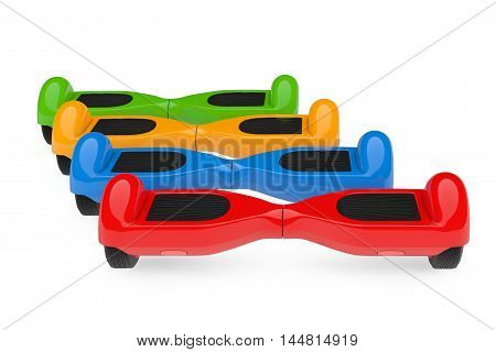 Multicolour Self Balancing Electric Scooters on a white background. 3d Rendering