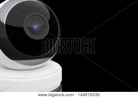 White Computer Spherical Web Camera on a black background. 3d Rendering