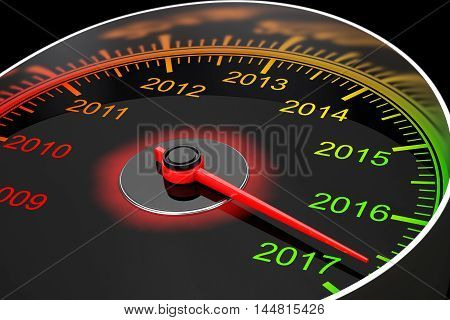 Conceptual 2017 New Year Speedometer on a black background. 3d Rendering