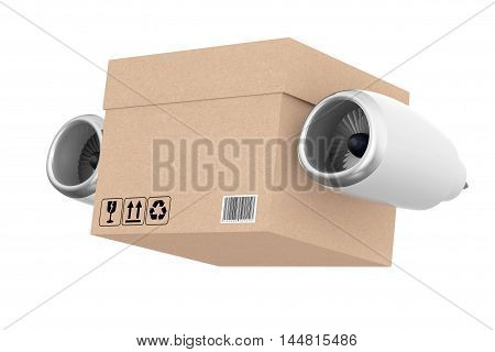 Aircraft Jet Engine with Express Delivery Box on a white background. 3d Rendering
