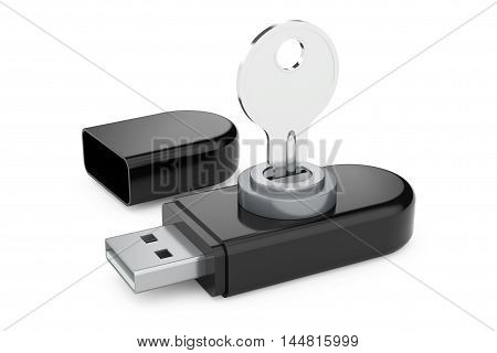 Data Security Concept. USB Flash Memory Drives with Key on a white background. 3d Rendering