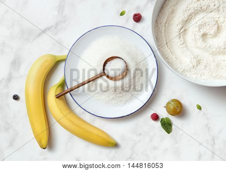 banana pie ingredients on a white background.