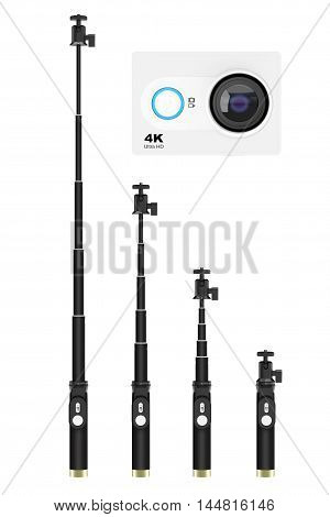 Extensible Selfie Stick Monopods with Small Ultra HD Action Camera on a white background. 3d Rendering
