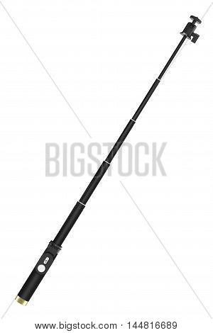 Extensible Selfie Stick Monopod on a white background. 3d Rendering