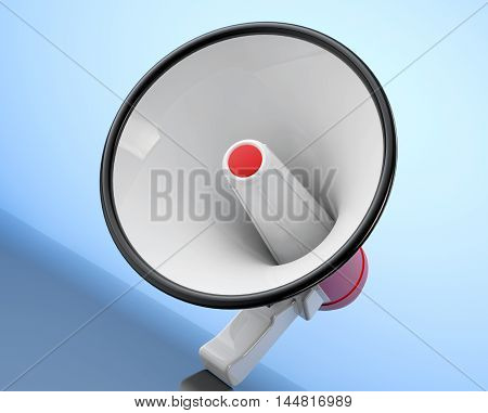 Retro Megaphone on a blue background. 3d Rendering