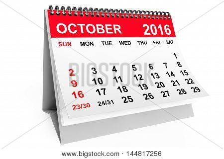 2016 year calendar. October calendar on a white background. 3d rendering
