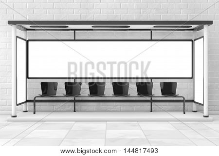 Bus Stop Station with Empty Billboard in front of brick wall. 3d Rendering