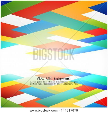 Abstract Vector background with Colored rectangles in perspective