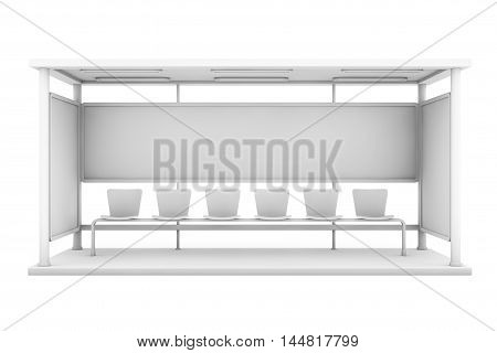 Bus Stop Station with Empty Billboard on a white background. 3d Rendering